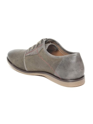 grey Leather lace-up derbys - 15793102 - Standard Image - 3