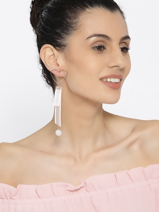 pink gold plated drop earring - 15800924 - Standard Image - 3