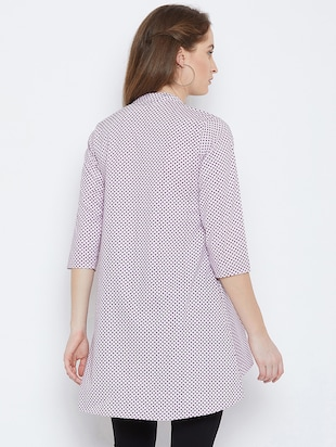 piping detail high low tunic - 15814355 - Standard Image - 3