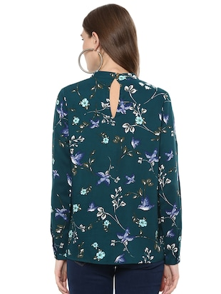 pleated neck floral top - 15814646 - Standard Image - 3