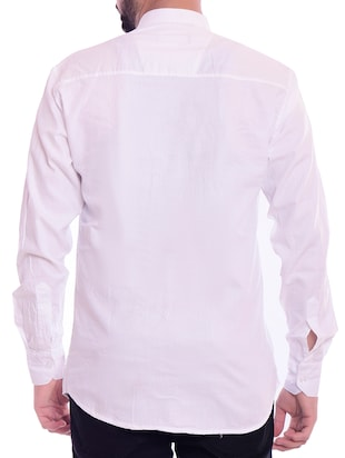 white solid casual shirt - 15815689 - Standard Image - 3