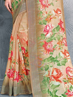 digital floral printed linen saree with blouse - 15817384 - Standard Image - 3