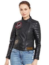 Buy Black Leather Biker Jacket For Women In India Limeroad
