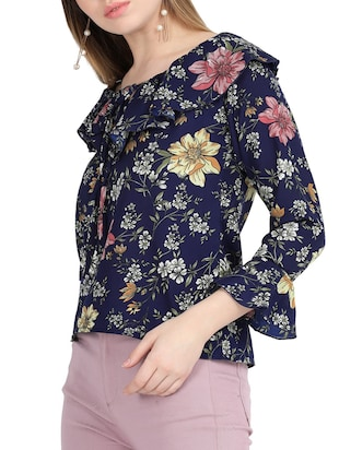 tie-up ruffle detail floral top - 15818757 - Standard Image - 3