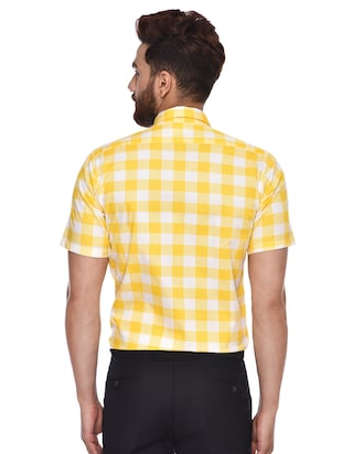yellow checkered  casual shirt - 15829394 - Standard Image - 3