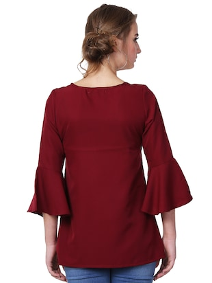 ruffle detail bell sleeved top - 15841641 - Standard Image - 3