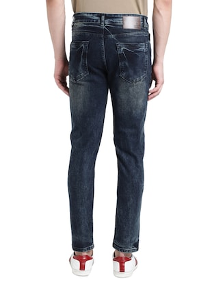 blue cotton blend washed jeans - 15843153 - Standard Image - 3