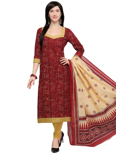 Printed unstitched churidaar suit - 15858969 - Standard Image - 1