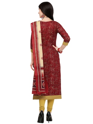 Printed unstitched churidaar suit - 15858969 - Standard Image - 3