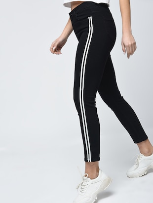 knee slit side stripe jeans - 15859290 - Standard Image - 3