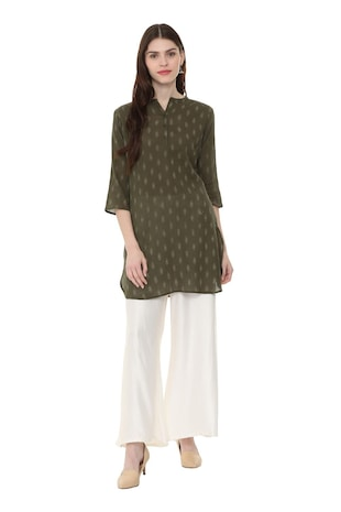green cotton straight kurti - 15870178 - Standard Image - 3