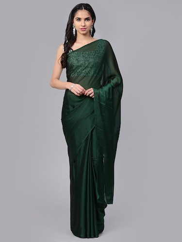 4c9dea81ff Buy Plain Saree With Heavy Blouse In India @ Limeroad