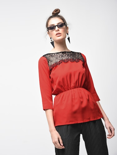 9d050242d Buy lace dresses for women western wear peach colour in India   Limeroad