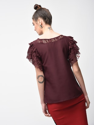 laced panel ruffle detail top - 15881803 - Standard Image - 3