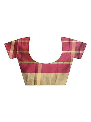striped woven saree with blouse - 15890594 - Standard Image - 3