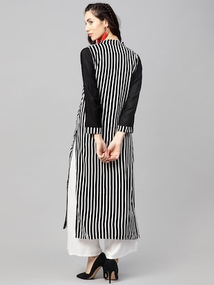 Stripes straight kurta - 15897806 - Standard Image - 3