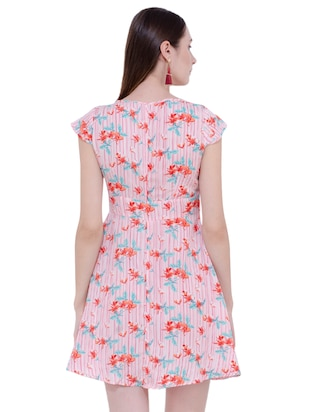Floral key hole front flared dress - 15902028 - Standard Image - 3