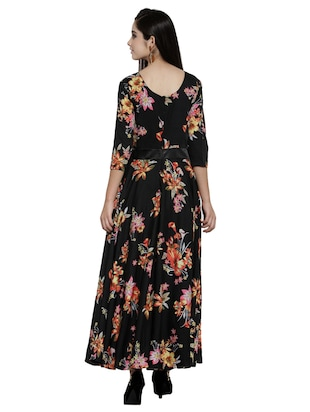 contrast flared maxi dress - 15914235 - Standard Image - 3