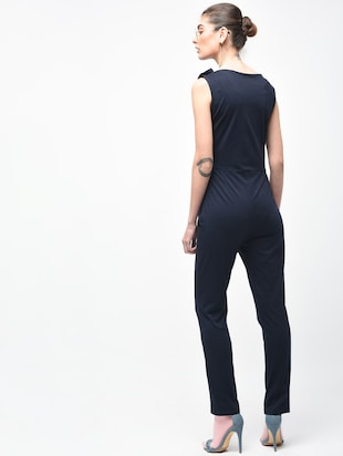 Boat neck button detail jumpsuit - 15930136 - Standard Image - 3