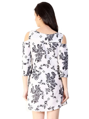 cold shoulder floral a-line dress - 15930807 - Standard Image - 3