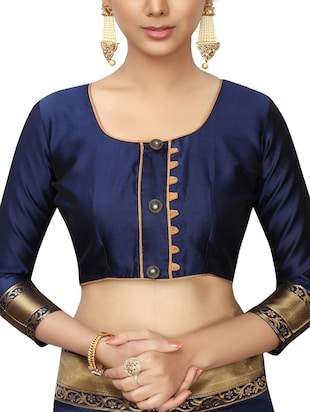 floral zari motifs navy woven saree with blouse - 15939957 - Standard Image - 3