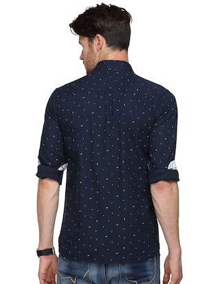 navy blue printed casual shirt - 15946166 - Standard Image - 3