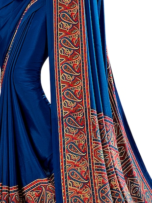 paisley printed saree with blouse - 15972015 - Standard Image - 3