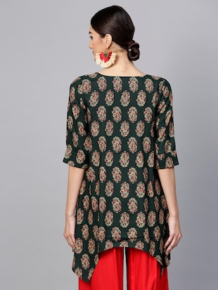 Printed High low kurta - 15973540 - Standard Image - 3
