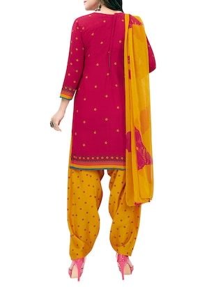 Printed unstitched combo suit - 15975522 - Standard Image - 3