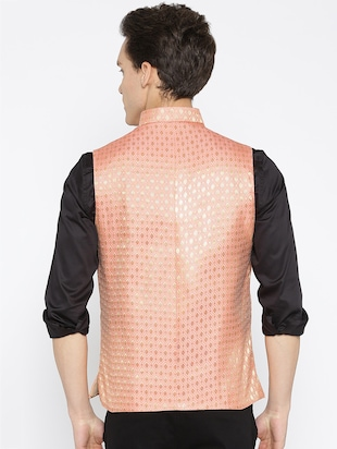 orange silk nehru jacket - 16003263 - Standard Image - 3