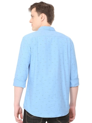 blue cotton casual shirt - 16040249 - Standard Image - 3