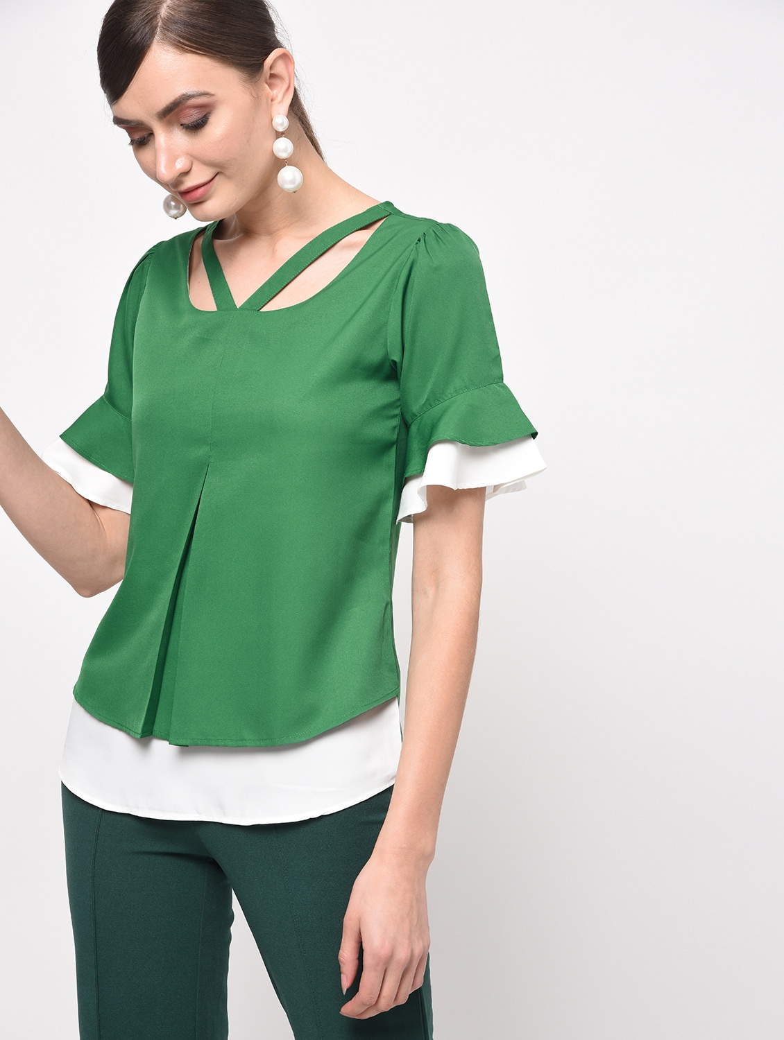 ba1872369f4d92 Buy Pleat Detail Layered Top for Women from Xquisite for ₹587 at 55 ...