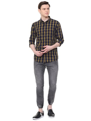 navy blue checkered casual shirt - 16061513 - Standard Image - 3