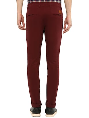 maroon solid chinos - 16065807 - Standard Image - 3