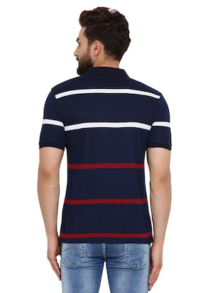 navy blue striped polo t-shirt  - 16078030 - Standard Image - 3