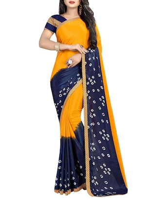 set of 2 multicolor printed saree combo with blouse - 16085462 - Standard Image - 3