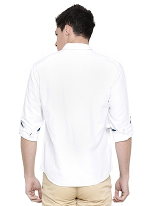 white solid casual shirt - 16086830 - Standard Image - 3