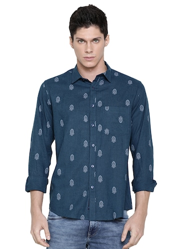 blue printed casual shirt - 16086869 - Standard Image - 1