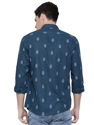 blue printed casual shirt - 16086869 - Standard Image - 3