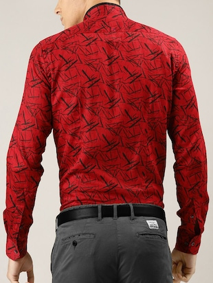 red printed casual shirt - 16089606 - Standard Image - 3