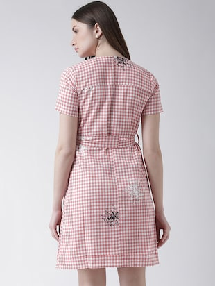 checkered pleated a-line dress - 16094188 - Standard Image - 3