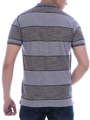grey striped polo t-shirt - 16094257 - Standard Image - 3