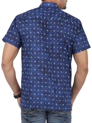 blue printed casual shirt - 16098795 - Standard Image - 3