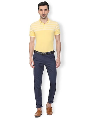 blue textured chinos - 16106841 - Standard Image - 3