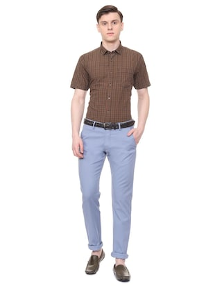 blue solid chinos - 16106853 - Standard Image - 3
