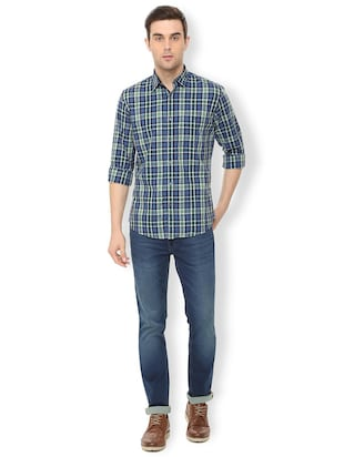 blue checkered casual shirt - 16106963 - Standard Image - 3