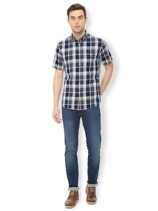 blue checkered casual shirt - 16106972 - Standard Image - 3