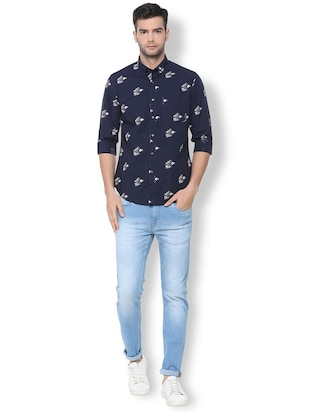 navy blue printed casual shirt - 16107101 - Standard Image - 3