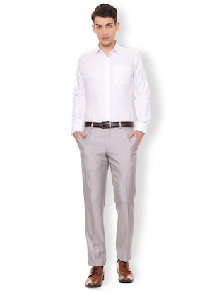 white solid formal shirt - 16107163 - Standard Image - 3