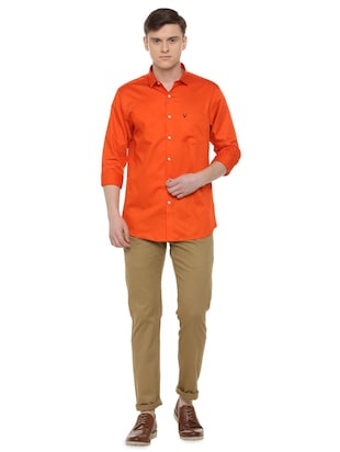 orange solid casual shirt - 16107182 - Standard Image - 3
